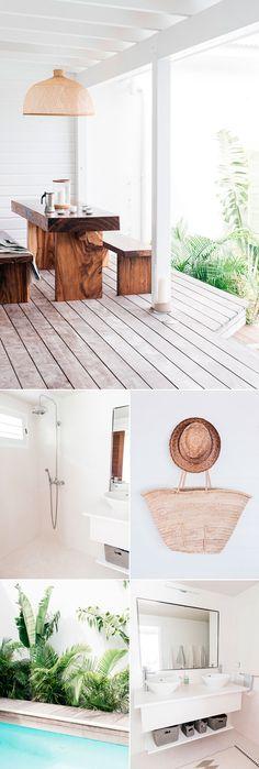 Chalé Paradisíaco com decoração clean, decoração branca, piso de madeira, masa de madeira.
