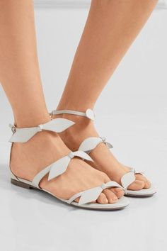 Chloé - Bow-embellished Leather Sandals - White - IT