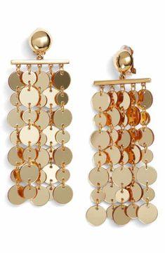 Oscar de la Renta Hammered Disc Clip Earrings