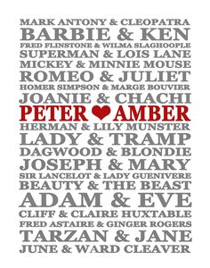 "11"" x 14"" Famous Couples Custom Name Print Artwork, Etsy...want!"