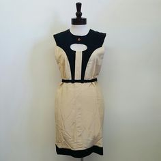 Fendi Belted Dress Beige Black Fitted dress  Sizes available: 42, 44, 46 Made in Italy   Brand new. FENDI Dresses