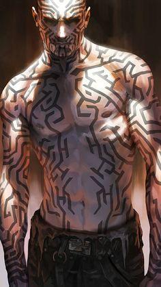 Men in fantasy art Fantasy Character Design, Character Design Inspiration, Character Concept, Character Art, Concept Art, Tattoo Character, Dark Fantasy, Fantasy Art, Cyberpunk Art