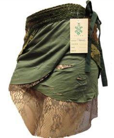 GREEN steampunk skirt, psytrance skirt, PIXIE SKIRT, ethnic skirt, goa Skirt, wrap Skirt, Elf Mini Skirt