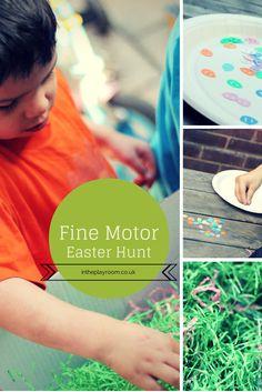 fine motor easter egg hunt sensory bin