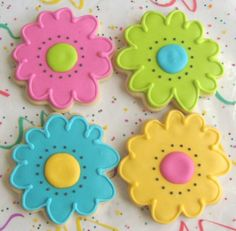 Reserved for Hayley----FLOWER POWER - Flower Decorated Cookies - Flower Cookie Favors - 1 Dozen via Etsy