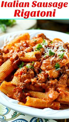 Italian Sausage Rigatoni in Spicy Cream Sauce makes an easy weeknight meal. The sauce has the perfect balance between tomatoes and cream. italian sausage Italian Sausage Rigatoni with Spicy Cream Sauce Easy Sausage Recipes, Beef Recipes, Cooking Recipes, Budget Cooking, Vegetarian Cooking, Easy Cooking, Sausage Rigatoni Recipes, Cooking Okra, Easy Recipes