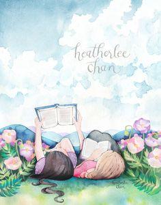 Best Friends - Sisters Reading Books - Watercolor Painting - Art by © Heatherlee Chan