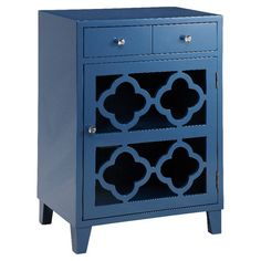 2-drawer accent table with an openwork quatrefoil door and hand-painted finish.   Product: ChestConstruction Materi...