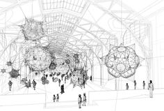 Conceptual drawing of the installation, to-scale Tomás Saraceno 'cloud cities' Entwurfszeichnung Hamburger Bahnhof courtesy: Tomás Saraceno Berlin, Conceptual Drawing, Web Design, Design Art, Cloud City, Argentine, Soap Bubbles, Cities, Science Art