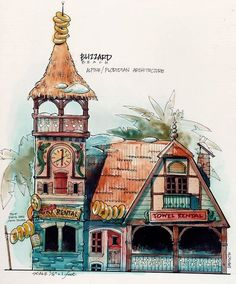 This concept art for Blizzard Beach by Don Carson plays with the unusual marriage of alpine and Floridian architecture. #disney #imagineering
