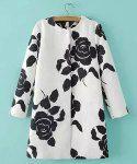 Elegant Jewel Neck Black Rose Print Long Sleeve Coat For Women