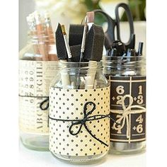 Cute! Scrapbook paper on recycled glass jars. For the craft room. decor