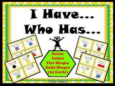 Game {Focus: Colors, Flat and Solid Shapes} 24 cards - Elementary Education Kindergarten Fun, Preschool Math, Math Classroom, Fun Math, Classroom Ideas, Teaching Tools, Teaching Math, Teaching Ideas, Math Lesson Plans