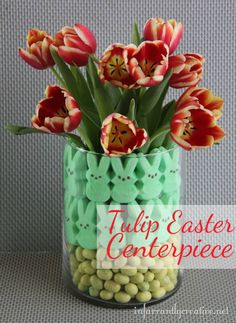 Tulip centerpiece with Easter candy and tulips