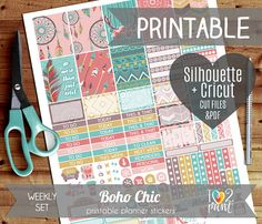 60% SALE Boho Chic Weekly Printable Planner Stickers, Erin Condren Planner Stickers, Weekly Stickers, Boho Chic Stickers - Cut files