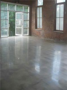 Polished concrete floor.