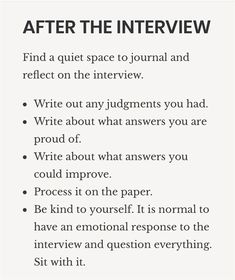 After the job interview, find a quiet space to reflect on these questions. Job Interview Answers, Job Interview Preparation, Interview Skills, Job Interview Tips, Job Interviews, Typical Interview Questions, Job Interview Hairstyles, Interview Nerves, Job Career