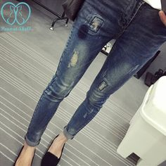 8b69356aefd1f Elastic Waist Hole Stretch Denim Maternity Belly Jeans Autumn Spring Pants  Clothes for Pregnant Women Pregnancy Pencil Trousers