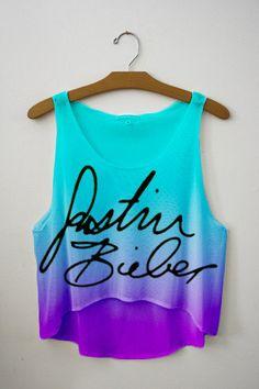 Bieber Signature Tie Dye Crop Top!! Love. i NEED FOR HIS CONCERT!