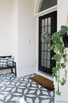 Porch makeover: I painted the walls, doors and floor! Outdoor Tile Over Concrete, Painted Concrete Porch, Painted Front Porches, Outdoor Tiles, Painting Concrete, Stencil Concrete, Concrete Floor, Front Porch Steps, Front Door Porch