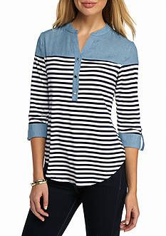 New Directions® Striped Button Front Chambray Top Umgestaltete Shirts, Shirt Blouses, Sewing Clothes, Diy Clothes, Clothes For Women, Chambray Top, Timeless Fashion, Blouse Designs, Casual Outfits
