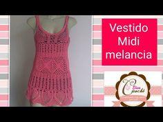 Versão canhotos:Vestido Midi Melancia em crochê (mangas) (3°parte última) # Elisa Crochê - YouTube