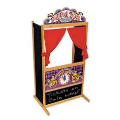 It's always show time! This wooden puppet theater has been designed with a sturdy, non-tip base and plenty of room inside for a puppeteer or two!