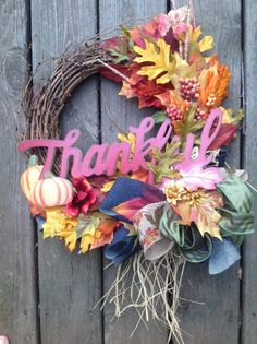 THANKFUL fall wreath with leaves and by TheLemonadeBoutique
