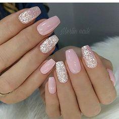 nail art designs with glitter ~ nail art designs ; nail art designs for spring ; nail art designs for winter ; nail art designs with glitter ; nail art designs with rhinestones Pretty Nail Designs, Simple Nail Designs, Light Pink Nail Designs, Gel Nail Designs, Nail Designs With Glitter, Silver Nail Designs, Popular Nail Designs, Coffin Nail Designs, Pink Gel Nails