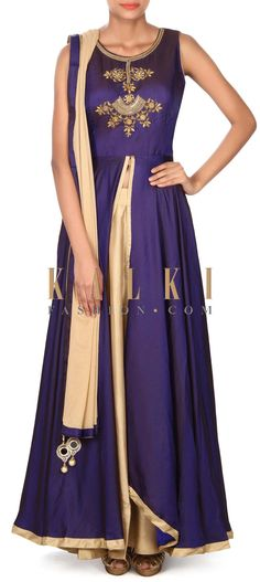 Buy this Navy blue top with beige lehenga only on Kalki