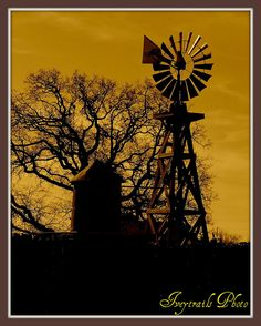 Day light is a-breakin in the country. It's been rainin' a bunch here, thus a little re-work of one of my old shots. Texas Hill Country, West Texas, Blowin' In The Wind, Old Windmills, The Barnyard, Lake Pictures, Country Paintings, Country Scenes, Old Barns