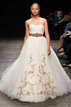 Gold accented wedding dress from Lazaro, Spring 2013