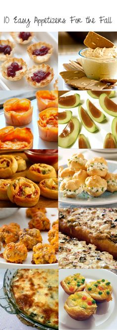 10 easy fall appetizers [in case we need more food ideas. love the caramel apple idea. Fall Appetizers, Finger Food Appetizers, Appetizer Recipes, Snack Recipes, Cooking Recipes, Tailgate Appetizers, Appetizer Ideas, Fall Recipes, Holiday Recipes