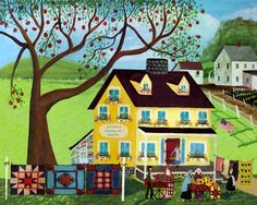 Amish Country Folk Art | COUNTRY QUILT HOUSE APPLE TREE FOLK ART PRINT