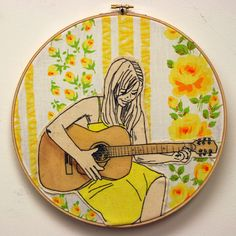Image of Guitar love 2 embroidery pattern