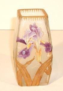 mont joye | Mont Joye Enameled (Legras) Vase, Circa 1900 (Image1) Antique Vases, Vintage Vases, Antique Art, Art Nouveau, Wine Glass, Glass Vase, Blown Glass Art, Purple Iris, Paris