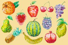 12 Watercolor Low Poly Fruit Set by LidiaP on Creative Market