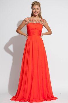 2014 Ruffled Prom Dresses Scoop Neckline Beaded Tulle Bodice Pick Up Long Chiffon Skirt