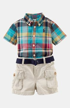 6 month picture Ralph Lauren Plaid Shirt & Shorts (Baby) available at #Nordstrom