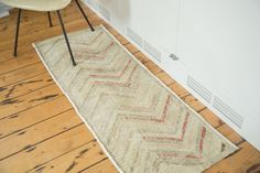 Happy, upbeat feel to this abstract vintage distressed Oushak rug runner