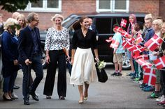 """Crown Princess Mary participated in the """"Loving Action"""" (Kaerlig Talt) event with Mary Foundation at Guldberg School in Copenhagen on August 25, 2015"""