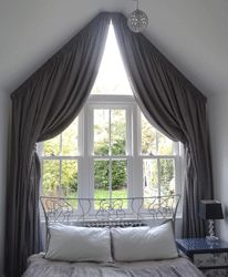 Apex windows Italian strung curtains Draped curtains Gable end windows Shaped Windows, Arched Windows, House Windows, Blinds For Windows, Curtains With Blinds, Curtains Living, Bedroom Curtains, Roof Shapes, Home Panel
