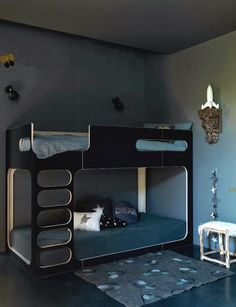 Bunk Bed, Dark Room, Children`s Bedroom, Amber in the Sky Bunk Bed in Black, available in store www.e-side.co.uk