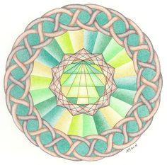 Numerologische mandala: Geboortekristal getekend middels het Vedisch vierkant, nummer 7 (geboortedag 25/ 2+5 = 7), verbonden met Ketu, 11 maal repeterend overeenkomstig het geboortegetal. http://wittewaterlelie.blogspot.nl/