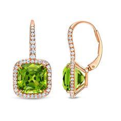 TAMIR | 9ct Peridot & Diamond Earrings in French Rose Gold