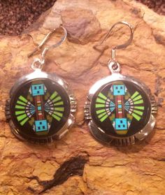 Native American Jewelry Sterling Silver Micro Inlaid Navajo Yei Design Dangle Earrings by AZNativeTreasures on Etsy