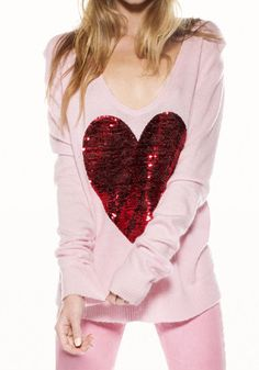 Wildfox Sequin White Label Heart Sweater in Pink Style Wish, Style Me, Holiday Wear, Heart Sweater, Heart Patterns, Pretty In Pink, Sweaters For Women, Sequins, How To Wear
