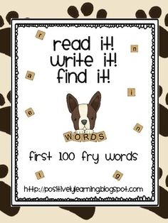 Here's a set of activity pages featuring the first 100 Fry sight words. There are five words per page for the student to read, write, and find in a...