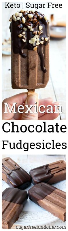 Are you ready for sugar free popsicle heaven? These Mexican chocolate fudgesicles are so insanely chocolatey and deliciously rich you'll want to keep them all for yourself. They are low carb, dairy free and have a prep time of only 20 minutes. #keto #sugarfree #lowcarb #dairyfree #popsicles #fudgesicles #healthyrecipe #vegan #chocolate #icecream