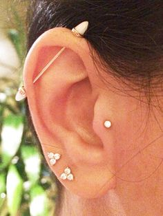Ear piercing inspiration! Double upper lobe, tragus and industrial.